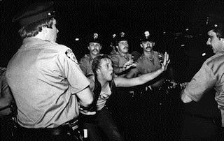 A scene during the 1969 Stonewall riots, as seen in Kate Davis and David Heilbroner???s documentary STONEWALL UPRISING. A First Run Features Release. Photo by Bettye Lane.